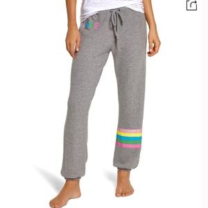 New Chaser Cozy Knit Sweatpants Love Graphic